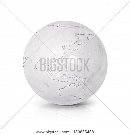 White Marble globe 3D illustration Asia & Australia map on white background
