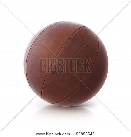 Leather ball 3D illustration on white background