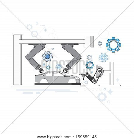 Manufacture Robots Industrial Automation Production Web Banner Vector Illustration