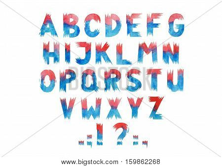 Colorful red and blue watercolor aquarelle font type handwritten hand drawn abc alphabet letters.