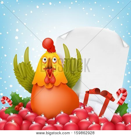 New year composition with funny cartoon rooster character. Vector illustration