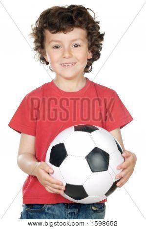Adorable Boy With A Ball