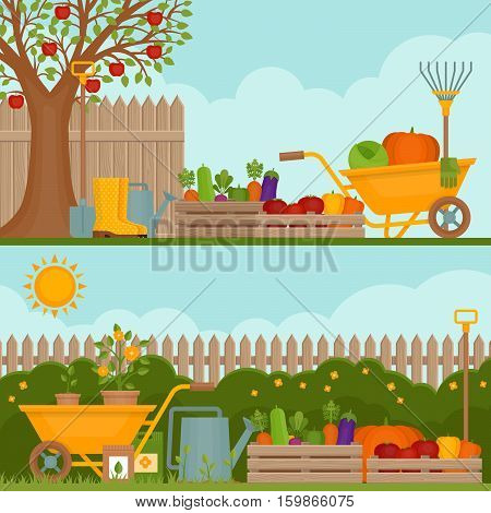 Vegetable garden. Concept of gardening. Banner with vegetable garden. Organic and healthy food. Flat style vector illustration.