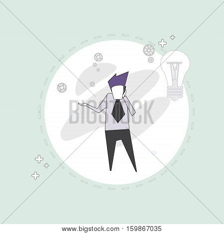 Business Man Speak Cell Phone Chatting Thin Line Vector Illustration