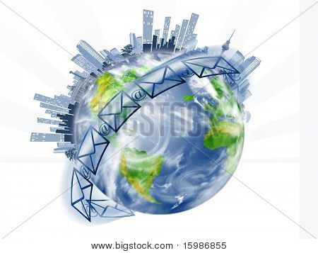 Globe with the panorama of sky-scrapers on a white background
