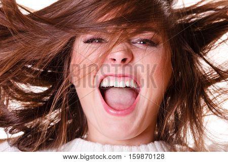Crazy Shouting Happy Girl.