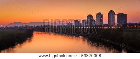 River Sava from Bridge of Liberty in Zagreb Croatia