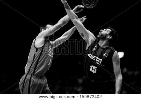 VALENCIA, SPAIN - DECEMBER 3: (L) San Emeterio, 15 Mumbru during spanish league match between Valencia Basket and Bilbao Basket at Fonteta Stadium on December 3, 2016 in Valencia, Spain