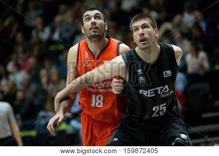 VALENCIA, SPAIN - DECEMBER 3: 18 Oriola, 25 Buva during spanish league match between Valencia Basket and Bilbao Basket at Fonteta Stadium on December 3, 2016 in Valencia, Spain