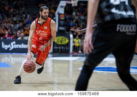 VALENCIA, SPAIN - DECEMBER 3: Antoine Diot during spanish league match between Valencia Basket and Bilbao Basket at Fonteta Stadium on December 3, 2016 in Valencia, Spain