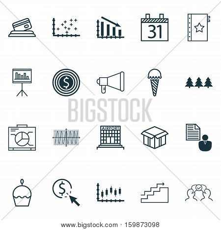 Set Of 20 Universal Editable Icons. Can Be Used For Web, Mobile And App Design. Includes Elements Such As Business Goal, Announcement, Credit Card And More.