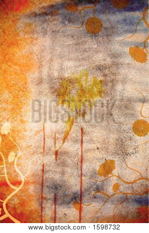 Grunge Wall Background With Daisies