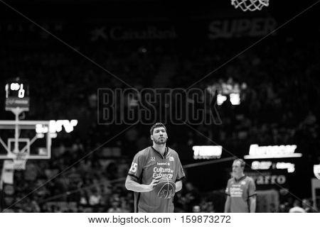VALENCIA, SPAIN - DECEMBER 3: Viacheslav Kravtsov during spanish league match between Valencia Basket and Bilbao Basket at Fonteta Stadium on December 3, 2016 in Valencia, Spain