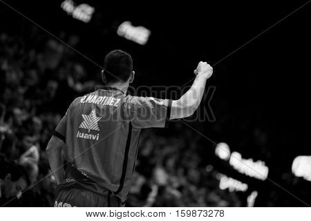 VALENCIA, SPAIN - DECEMBER 3: rafa Martinez during spanish league match between Valencia Basket and Bilbao Basket at Fonteta Stadium on December 3, 2016 in Valencia, Spain