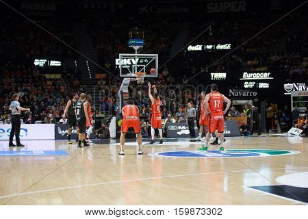 VALENCIA, SPAIN - DECEMBER 3: All players during spanish league match between Valencia Basket and Bilbao Basket at Fonteta Stadium on December 3, 2016 in Valencia, Spain