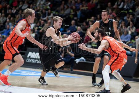 VALENCIA, SPAIN - DECEMBER 3: Tobias Borg with ball during spanish league match between Valencia Basket and Bilbao Basket at Fonteta Stadium on December 3, 2016 in Valencia, Spain
