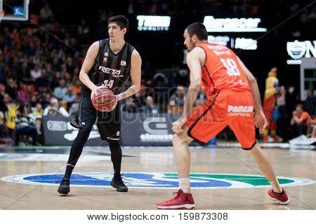 VALENCIA, SPAIN - DECEMBER 3: Danilo Nikolic with ball during spanish league match between Valencia Basket and Bilbao Basket at Fonteta Stadium on December 3, 2016 in Valencia, Spain