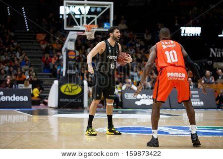 VALENCIA, SPAIN - DECEMBER 3: Alex Mumbru with ball during spanish league match between Valencia Basket and Bilbao Basket at Fonteta Stadium on December 3, 2016 in Valencia, Spain