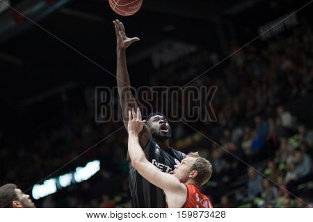 VALENCIA, SPAIN - DECEMBER 3: Micheal Eric with ball during spanish league match between Valencia Basket and Bilbao Basket at Fonteta Stadium on December 3, 2016 in Valencia, Spain