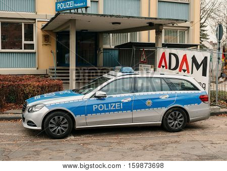KEHL GERMANY - DEC 02 2016: Polizei Police car Mercedes-Benz blue car parked in front of Police Station in center of the city of Kehl Germany