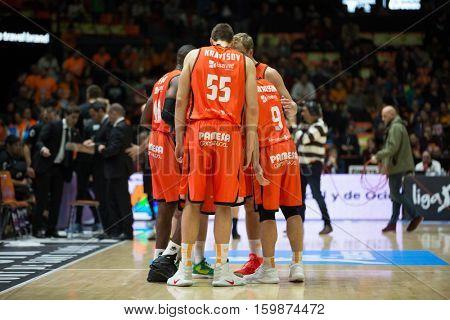 VALENCIA, SPAIN - DECEMBER 3: Valencia team during spanish league match between Valencia Basket and Bilbao Basket at Fonteta Stadium on December 3, 2016 in Valencia, Spain