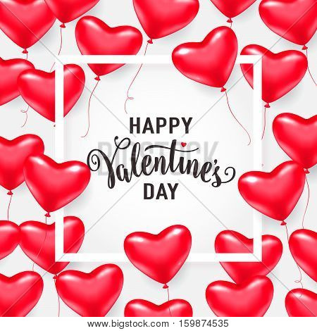 Vector illustration of red heart balloons, white line frame with lettering text sign happy valentines day isolated on white background. Valentines card template for holiday greeting