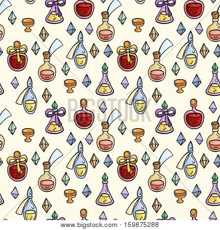 Seamless pattern with magic glass flasks. Science potions doodle style sketch. Alchemy and wonderful science.