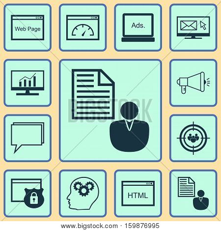 Set Of 12 Marketing Icons. Can Be Used For Web, Mobile, UI And Infographic Design. Includes Elements Such As Website, Display, Brief And More.