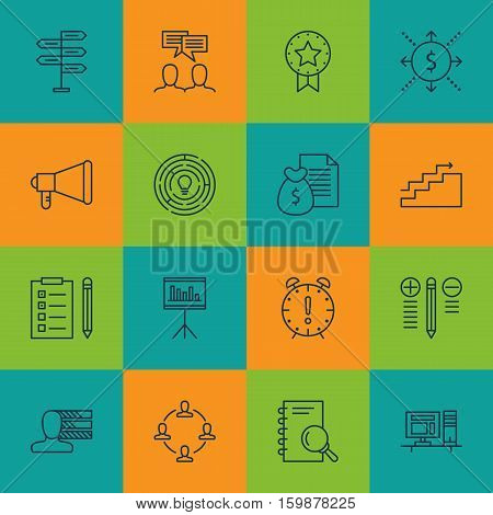 Set Of 16 Project Management Icons. Can Be Used For Web, Mobile, UI And Infographic Design. Includes Elements Such As Team, Skills, Time And More.