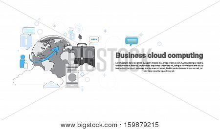 Cloud Computing Business Database Storage Services Web Technology Banner Vector Illustration