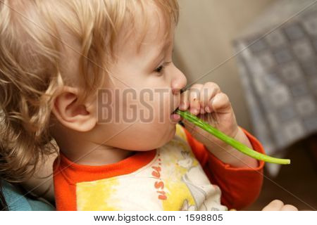The Boy Eats  Leek