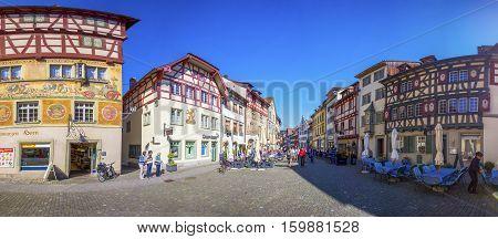 STEIN AM RHEIN SWITZERLAND - July 2016 - Old city center of Stein am Rhein willage with colorful old houses canton of Schaffhausen Switzerland.