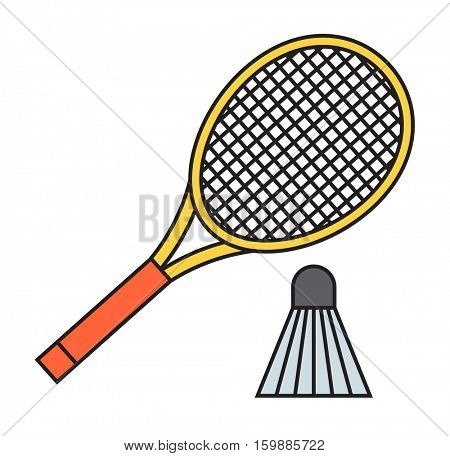 Two badminton racket and shuttlecock vector.