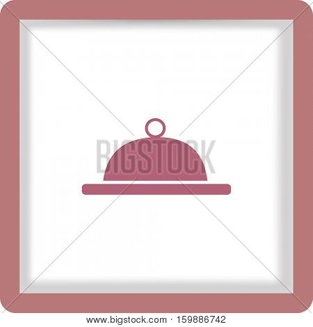 Flat icon. Food. Dinner. The dish is covered with a lid.