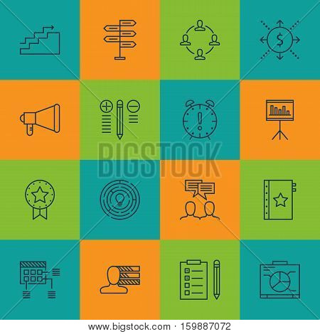 Set Of 16 Project Management Icons. Can Be Used For Web, Mobile, UI And Infographic Design. Includes Elements Such As Money, Win, Statistics And More.