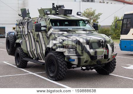 Kiev Ukraine - October 14 2016: Ukrainian-made armored car KRaZ Spartan exhibition