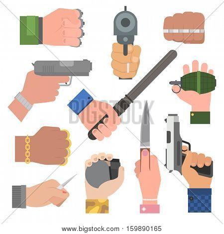 Hand firing with gun vector.