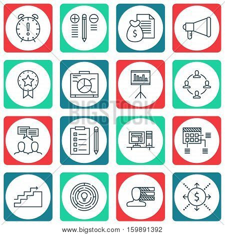 Set Of 16 Project Management Icons. Can Be Used For Web, Mobile, UI And Infographic Design. Includes Elements Such As Personality, Statistics, Statistic And More.