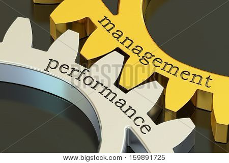 Management Performance concept on the gearwheels 3D rendering