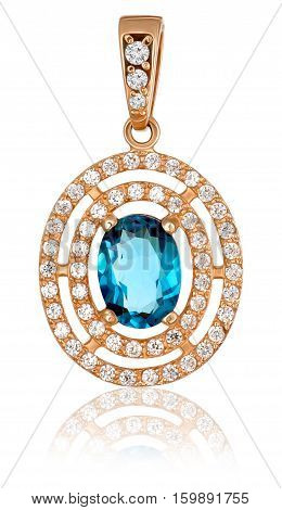 Fashion gold jewelry with precious stones. Gold pendant with topaz and diamonds.