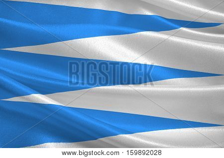 Flag of Sogn and Fjordane is a county in western Norway. 3d illustration