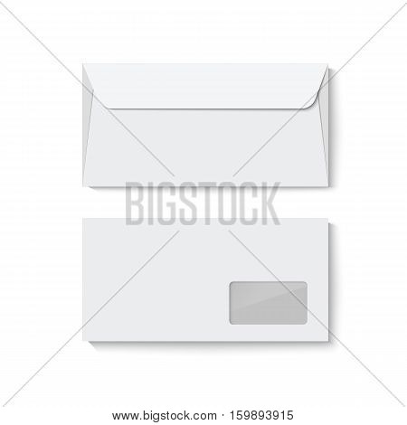 White closed blank envelope template isolated on white background. Realistic vector mockup. Mock up for your design.
