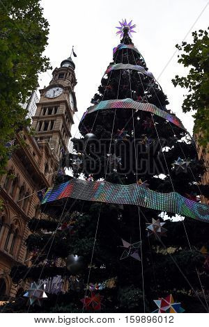 Tall Outdoor Christmas Tree With Decoration Summer in Martin Place Sydney Australia