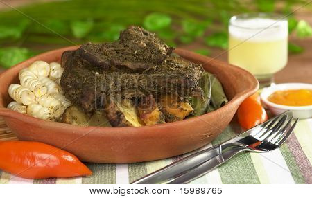 Traditional Peruvian dish called Pachamanca