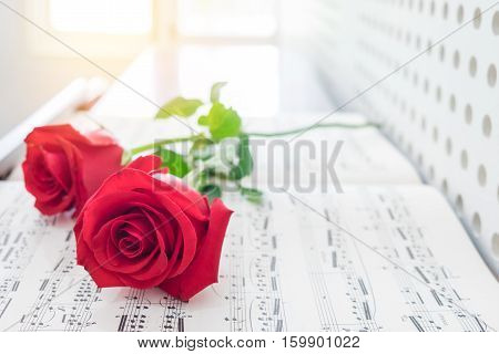 Close up beautiful red rose on music sheets