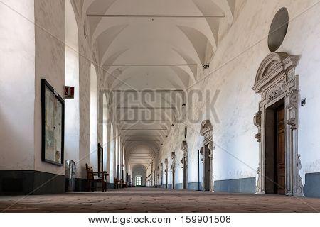 CATANIA ITALY - AUGUST 17 2016: Interior of the Benedictine Monastery of San Nicolo l'Arena in Catania Sicily