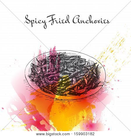 Spicy Fried Anchovies watercolor effect illustration. Vector illustration of Indian cuisine.