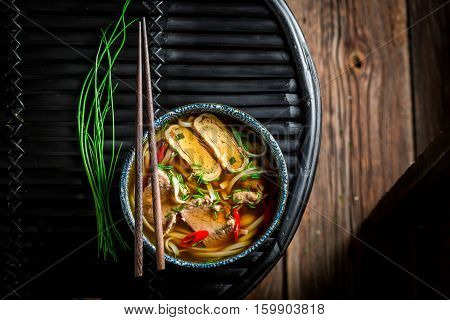 Delicious Thai Broth With Beef And Noodle