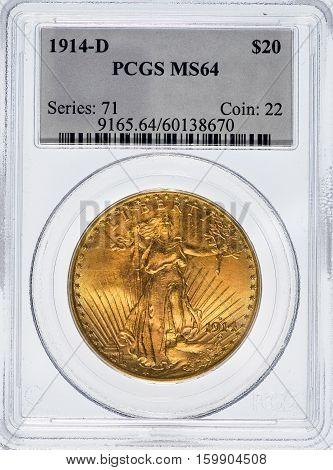 Dallas Texas Dec. 4 2016 Rare graded Saint Gaudens 1914 D double eagle gold twenty dollar piece.