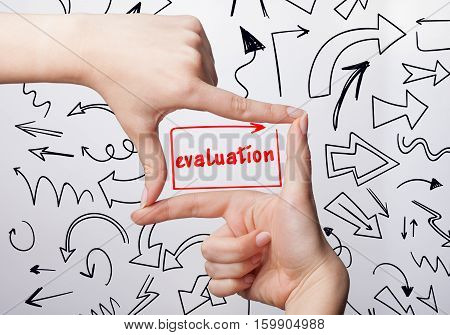 Technology, Internet, Business And Marketing. Young Business Woman Writing Word: Evaluation